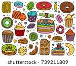 vector set of sweets | Shutterstock .eps vector #739211809