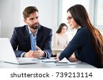 businesspeople discuss a new...   Shutterstock . vector #739213114