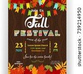 fall festival poster template.... | Shutterstock .eps vector #739214950