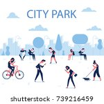 people walking on the urban... | Shutterstock .eps vector #739216459