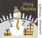 merry christmas gold card with... | Shutterstock .eps vector #739216678