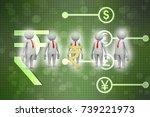 3d people around indian rupee... | Shutterstock . vector #739221973