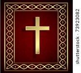 vintage golden cross and frame... | Shutterstock .eps vector #73923082