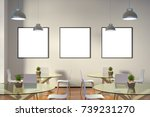 three blank square posters mock ... | Shutterstock . vector #739231270