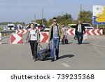 man and woman with a bag in... | Shutterstock . vector #739235368