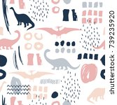 seamless pattern with cartoon... | Shutterstock .eps vector #739235920