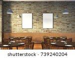 modern restaurant interior with ... | Shutterstock . vector #739240204