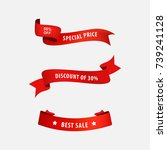 sale price banner and tag ribbon to business promotional. red ribbons set. | Shutterstock vector #739241128