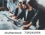 working process at office.group ... | Shutterstock . vector #739241959