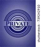 private emblem with jean texture   Shutterstock .eps vector #739242910