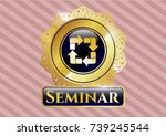 golden emblem with recycle... | Shutterstock .eps vector #739245544