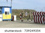 border guards serve at the... | Shutterstock . vector #739249354