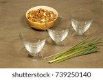 three glass sundae bowls on a...   Shutterstock . vector #739250140