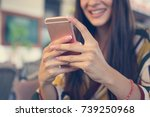 woman's hand using smart phone. ... | Shutterstock . vector #739250968