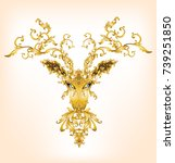 deer head with baroque gold... | Shutterstock .eps vector #739251850
