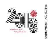2018 happy new year trendy and... | Shutterstock . vector #739260148