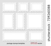 blank postage stamps set. ... | Shutterstock .eps vector #739260388