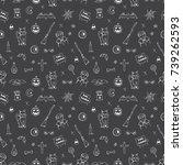seamless pattern of halloween... | Shutterstock .eps vector #739262593