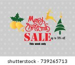 christmas sale template.merry... | Shutterstock .eps vector #739265713