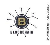 blockchain emblem concept.... | Shutterstock .eps vector #739266580