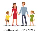 happy family standing and... | Shutterstock . vector #739270219