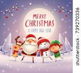 merry christmas  happy... | Shutterstock .eps vector #739270336
