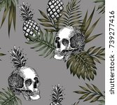 composition of hand drawn skull ... | Shutterstock .eps vector #739277416