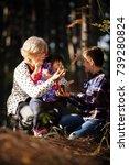 grandmother granddaughter and... | Shutterstock . vector #739280824