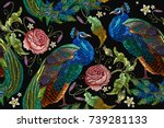 embroidery peacocks and flowers ... | Shutterstock .eps vector #739281133