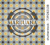 marijuana arabic badge...   Shutterstock .eps vector #739282138