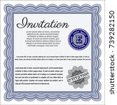 blue retro invitation template. ...   Shutterstock .eps vector #739282150