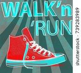 walk and run concept modern art ... | Shutterstock .eps vector #739283989