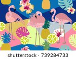 tropical paradise print.... | Shutterstock .eps vector #739284733