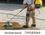 residential driveway washing... | Shutterstock . vector #739285069