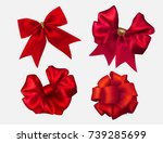 vector red silk bow set ... | Shutterstock .eps vector #739285699