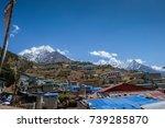 namche bazaar and tamserku ... | Shutterstock . vector #739285870