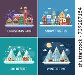 new year and winter travel... | Shutterstock . vector #739287154