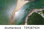 aerial view. a sand bar created ... | Shutterstock . vector #739287424