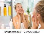 young beautiful woman touching...   Shutterstock . vector #739289860