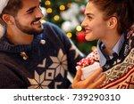 romantic couple enjoying in the ... | Shutterstock . vector #739290310