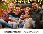 cheerful smiling  family... | Shutterstock . vector #739293814