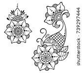 set of mehndi flower pattern... | Shutterstock .eps vector #739297444