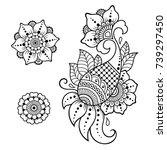 set of mehndi flower pattern... | Shutterstock .eps vector #739297450