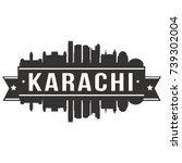 karachi skyline silhouette...   Shutterstock .eps vector #739302004
