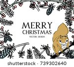 christmas greeting card or...   Shutterstock .eps vector #739302640