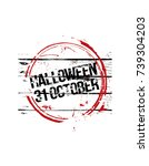 halloween stempel. vector... | Shutterstock .eps vector #739304203