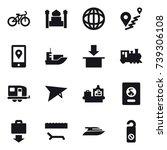 16 vector icon set   bike ... | Shutterstock .eps vector #739306108