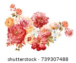 graceful flowers  the leaves... | Shutterstock . vector #739307488