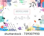 creative universal floral... | Shutterstock . vector #739307950