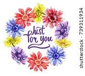 wildflower gerbera flower frame ... | Shutterstock . vector #739311934